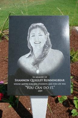 Shannon Quigley Runningbear Memorial Plaque